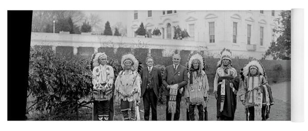 Indian Chiefs With President Harding Yoga Mat