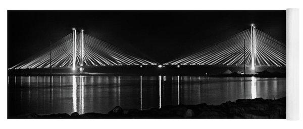 Yoga Mat featuring the photograph Indian River Bridge After Dark In Black And White by Bill Swartwout Fine Art Photography