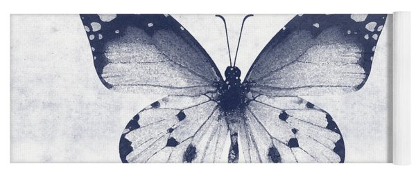 Indigo And White Butterfly 1- Art By Linda Woods Yoga Mat