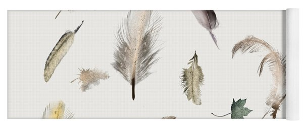 Inner Nature Feathers And Leaves Yoga Mat