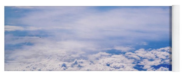 Intense Blue Sky With White Clouds And Plane Crossing It, Seen From Above In Another Plane. Yoga Mat