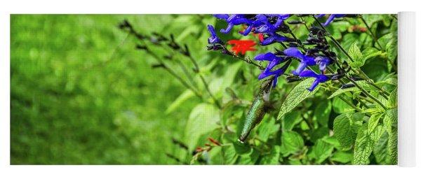 Irridescent Green Hummingbird At Deep Blue Flower Yoga Mat