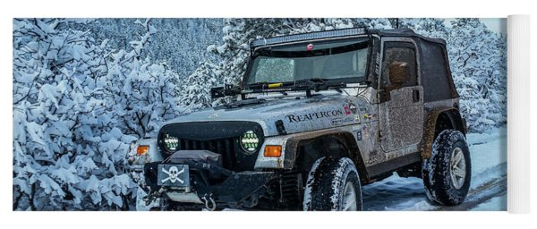 Jeepin In The Snow Yoga Mat