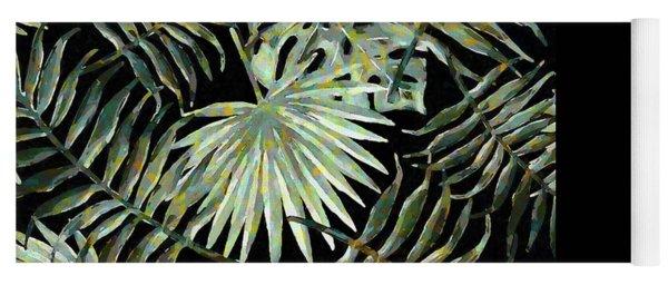 Jungle Dark Tropical Leaves Yoga Mat