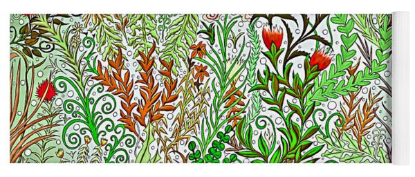 Jungle Garden In Greens And Browns Yoga Mat