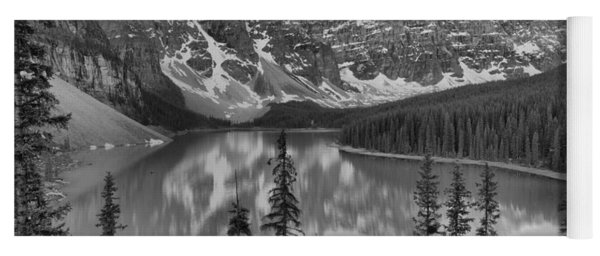 Just After Sunrise At Moraine Lake Black And White Yoga Mat