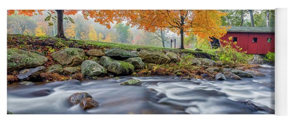 Yoga Mat featuring the photograph Kent Falls Autumn 2018 by Bill Wakeley