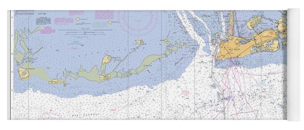 Key West Harbor And Approaches, Noaa Chart 11441 Yoga Mat