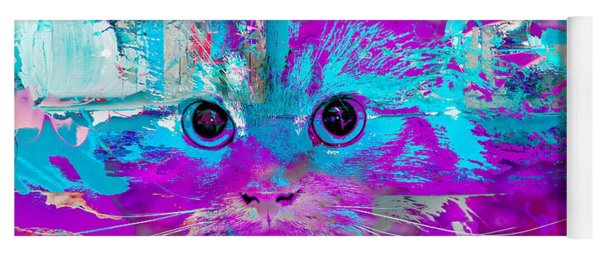 Kitty Collage Blue Yoga Mat