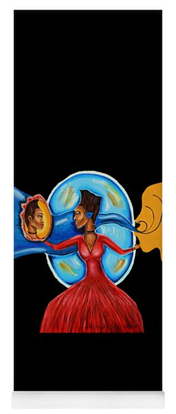 African Goddess Lady In Red Afrocentric Art Mother Earth Black Woman Art Yoga Mat