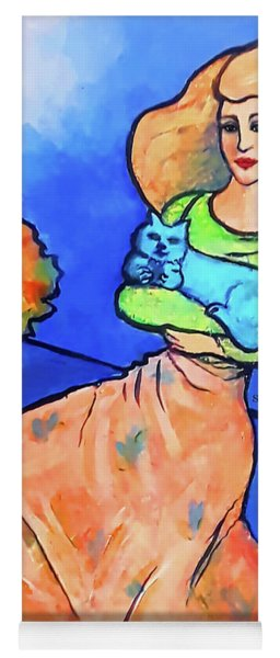 Lady With Blue Cat Yoga Mat