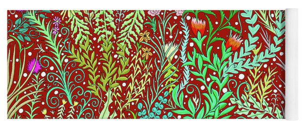 Large Millefleurs Tapestry Design In Dark Red Yoga Mat