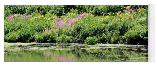 Lavender And Gold Reflections At Chicago Botanical Gardens Yoga Mat