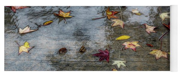 Yoga Mat featuring the photograph Leaves In The Rain by Alison Frank