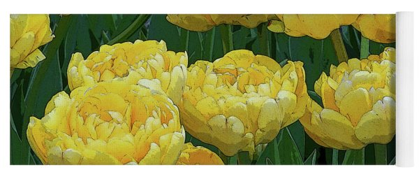 Lemony Yellow Tulips Yoga Mat