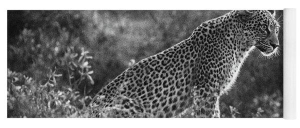 Leopard Sitting Black And White Yoga Mat