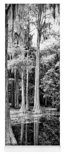 Light Through Cypress Swamp Black And White Yoga Mat