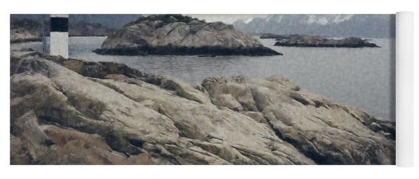Lighthouse On Rocks Near The Atlantic Coast, Digital Art Oil Pai Yoga Mat