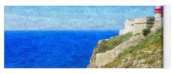 Lighthouse On Top Of A Cliff Overlooking The Blue Ocean On A Sunny Day, Painted In Oil On Canvas. Yoga Mat