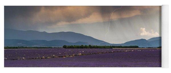 Lightning Over Lavender Field Yoga Mat