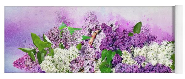 Lilac  In A Basket Yoga Mat