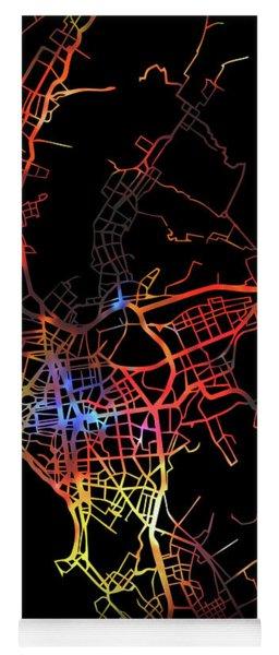Lima Peru Watercolor City Street Map Dark Mode Yoga Mat