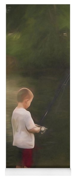 Little Boy Fishing Yoga Mat