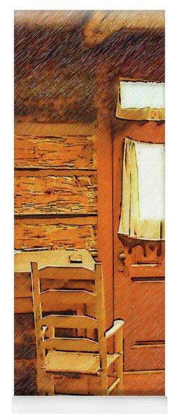 Log Cabin Desk, Chair And Door Yoga Mat