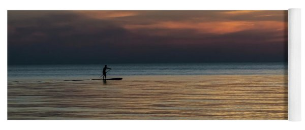Lone Stand Up Paddler Just Before Sunrise Yoga Mat