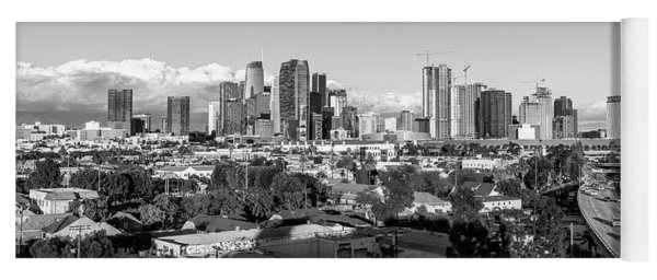 Los Angeles Skyline Looking East 2.9.19 - Black And White Yoga Mat