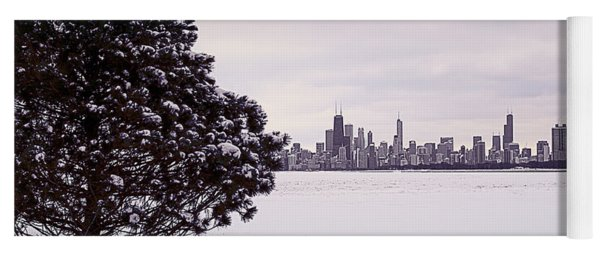 Yoga Mat featuring the photograph Lovely Winter Chicago by Milena Ilieva