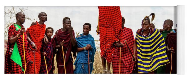 Yoga Mat featuring the photograph Maasai Jumping Dance by Kay Brewer