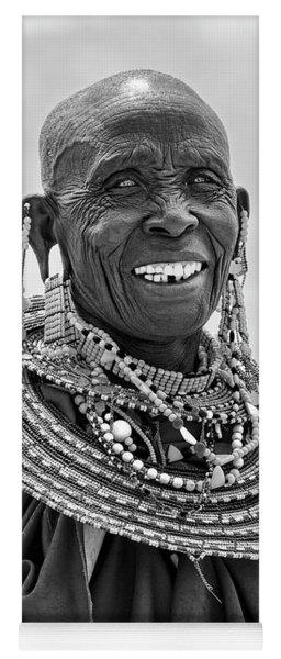 Yoga Mat featuring the photograph Maasai Woman In Black And White by Kay Brewer