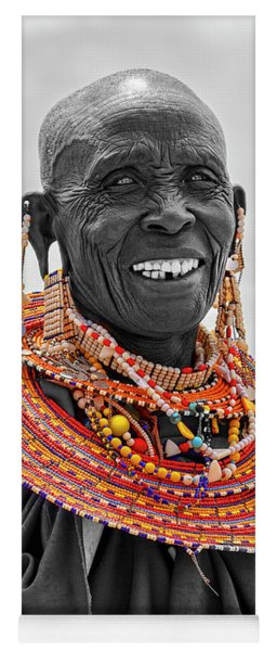 Yoga Mat featuring the photograph Maasai Woman In Selective Color by Kay Brewer