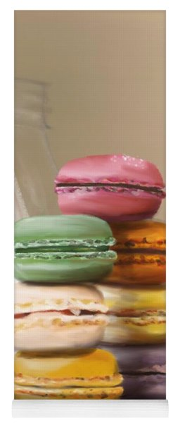 Yoga Mat featuring the pastel Macaroons  by Fe Jones
