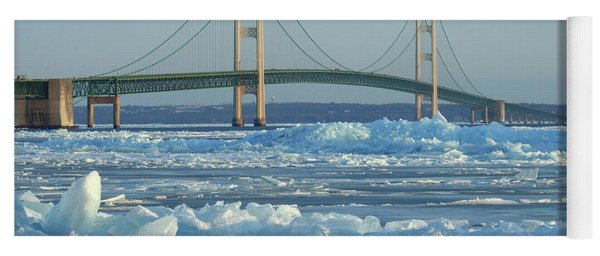 Mackinac Bridge In Ice 2161801 Yoga Mat