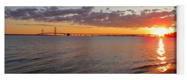 Mackinac Bridge Sunrise Panorama Yoga Mat
