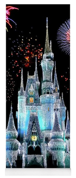Magic Kingdom Castle In Frosty Light Blue With Fireworks 06 Yoga Mat