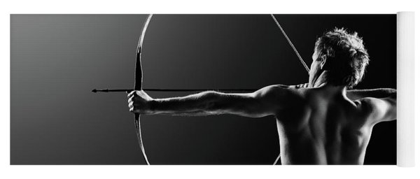 Male Archer Drawing Long Bow Yoga Mat