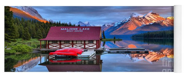 Maligne Lake Sunset Spectacular Yoga Mat