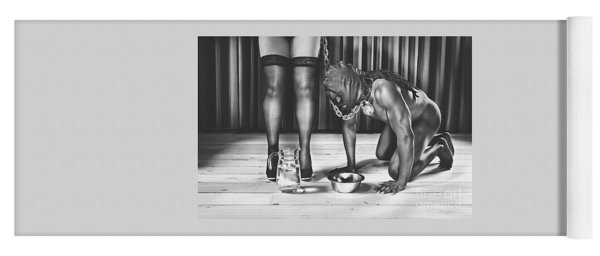 Man With Mask On His Knees Beside His Mistress Yoga Mat