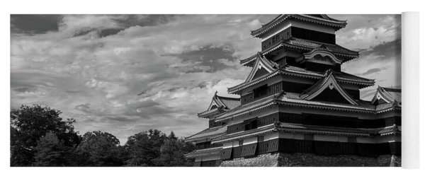 Matsumoto Castle Japan Black And White Yoga Mat