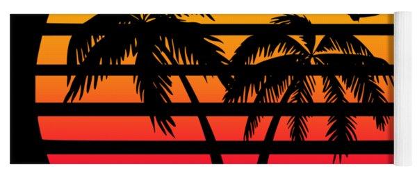 Miami 80s Tropical Sunset Yoga Mat