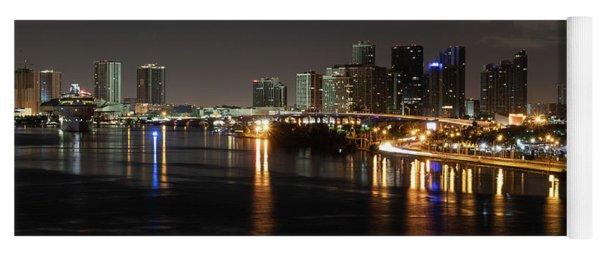 Miami Lights At Night Yoga Mat