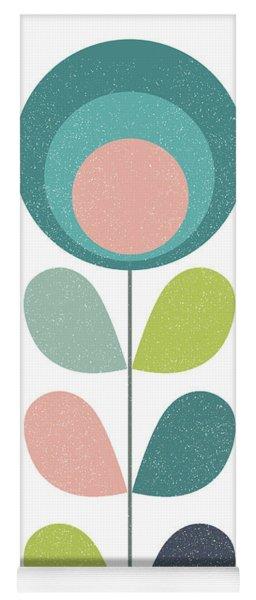 Mid Century Modern Teal Flower I Yoga Mat