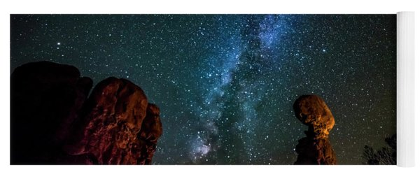 Milky Way Over Balanced Rock Yoga Mat
