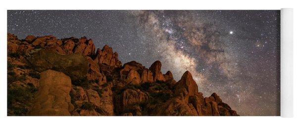 Milky Way Over Rocky Terrain Yoga Mat