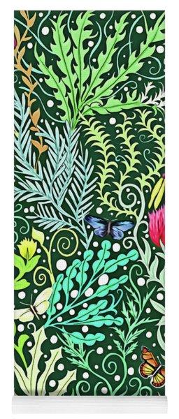 Millefleurs Dark Green Tapestry Design With Four Butterflies Yoga Mat