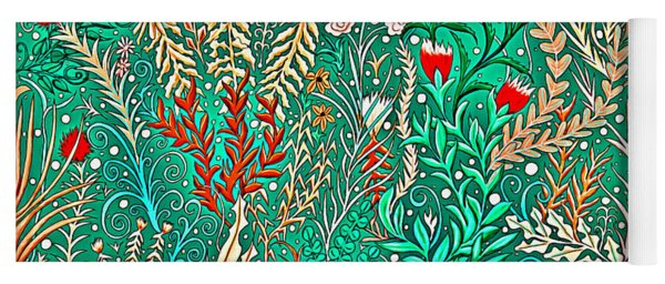 Millefleurs Home Decor Design In Brilliant Green And Light Oranges With Leaves And Flowers Yoga Mat