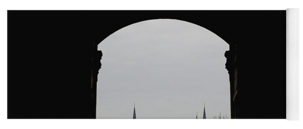 minarets in the city for the prayer of the Muslim religion Yoga Mat